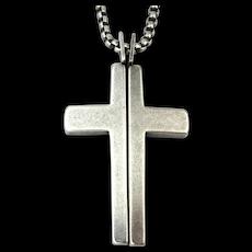 Vintage Steve Madden Quirky Split Cross Pendant Necklace