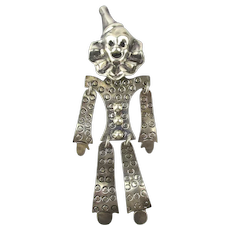 Big Taxco Sterling Silver Clown Pin Pendant Articulated Jointed Happy