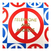 1960s Red White n Blue PEACE Symbol Telephone Address Book