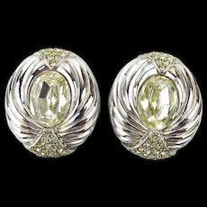Big Stunning CINER Rhinestone Clip Earrings