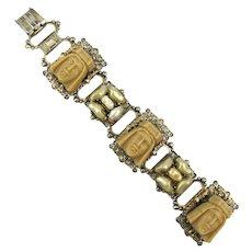 Selro Link Bracelet Handsome Prince Faces w/ Baroque Pearl Clusters