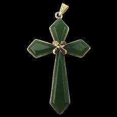 Mid Century 14K Gold Jade Cross Pendant