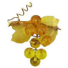 Vintage Celluloid Bunch of Grapes Pin Pendant Brooch Translucent