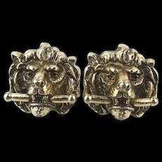 Vintage SHIELDS Figural Lion Cufflinks Great Detail Big Bite