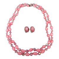 Pink Moonglow Lucite  Crystal Bead Necklace w/ Earrings Set