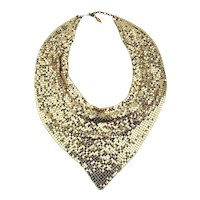 Vintage Whiting & Davis Mesh Bib Scarf Necklace Signed