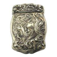 Art Nouveau Silveroin Match Safe Holder Vesta Case Smoking Woman