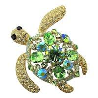 Great Glamorous TURTLE Pin w/ Mega Sparkle Rhinestones