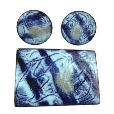 Modern Art Swirl of Blue Enamel Copper Pin n Earrings Set