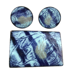 Modern Art Swirl of Blue Enamel Copper Pin n Earrings Set