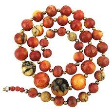 Genuine Apple Coral Bead Necklace - Chunky Beads Yummy Color w/ Bonus