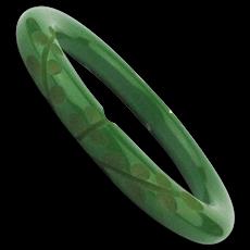 Carved Green Bakelite Bangle Bracelet