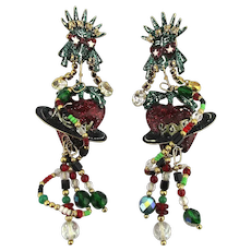 Vintage Lunch at the Ritz Lady Liberty Dangle Earrings