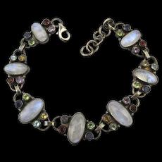 Sterling Silver Moonstone Link Bracelet w/ Gemstone Accents