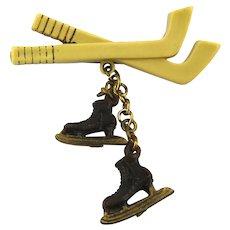 Vintage 1940s Celluloid Hockey Sticks n Skates Pin Brooch