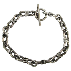 Mexican 925 Sterling Silver Bracelet Lassoed Links