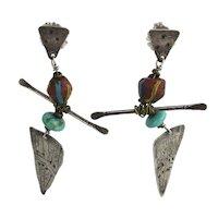 Oddball Modernist Sterling Silver Dangle Earrings