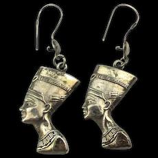 Egyptian Sterling Silver Dangle Earrings Nefertiti Queen