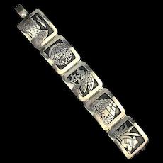 Modernist Taxco Sterling Silver Story Panel Bracelet DG - Damaso Gallegos