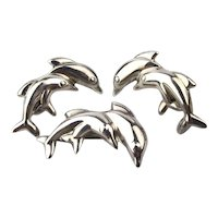 Mexican Signed Sterling Silver Leaping Dolphin Set Pin Earrings