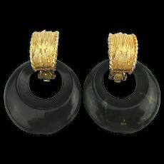 Vintage Pauline Rader Bakelite Clip Earrings Chunky 2 Ways