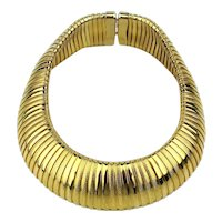 Big Wide Gilded Omega Ribbed Necklace Bold Runway Style