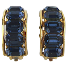 Signed LISNER Clip Earrings w/ Deco Style Blue Glass Rhinestones