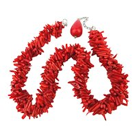 Very Red Red Branch Coral Clusterful Necklace Torsade