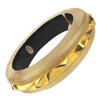 Vintage Alexis Bittar Satin Lucite Goldtone Clamper Bracelet