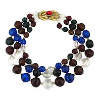 Big Bold Lucite Necklace - 3 Strands of Clear n Colorful Beads