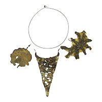 Signed Brutalist Abstract Metals Art Necklace w/ 3 Pendants