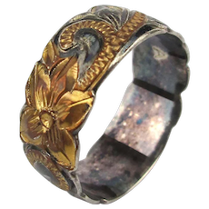 Very Etched Gilt on Sterling Silver Ring Victorian Style