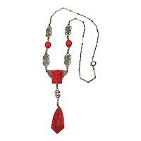 Art Deco Czech Red Glass Filigree Necklace