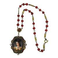 Victorian Necklace w/ Lady Portrait Pendant on Carnelian Bead Chain