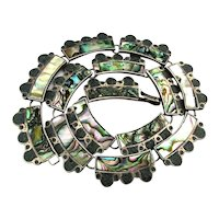 Mexican Taxco OCAMPO Sterling Silver Necklace Abalone Turquoise Inlay