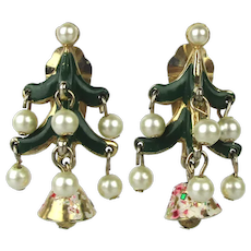 Signed ZENTALL Clip Earrings Decorated Christmas Tree