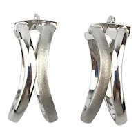 14K White Gold Double Hoop Earrings Pierced