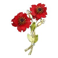 Signed CORO Red Enamel Flowers Pin w/ Rhinestones