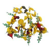 Art Deco Italian Venetian Glass Necklace - Birds Beads Flowers