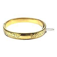 Art Deco 10K Gold-Filled Hinged Bracelet Etched