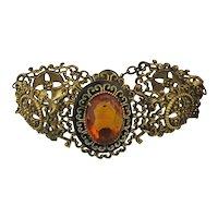 1920s Brass Filigree Bracelet w/ Glass Amber Stone