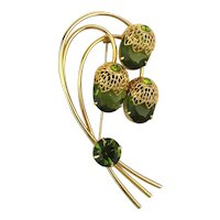 Sarah Cov Rhinestone Pin Brooch Flowers Take A Bow