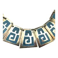 Old Sterling Silver Necklace Crush Turquoise Inlay Aztec Design