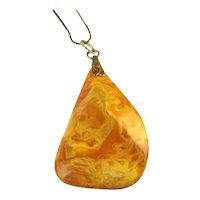 Amazing Egg Yolk Amber Pendant on 14K Gold Filled Necklace