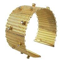 Hattie Carnegie Gilt Wire Mesh Cuff Bracelet w/ Crystal Sprinkles