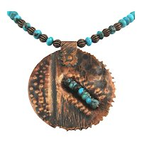 Hand Hammered Copper Turquoise Heishi Bead Necklace