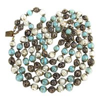 Signed GM Venetian Glass Bead Necklace 3 Strands of Gorgeous