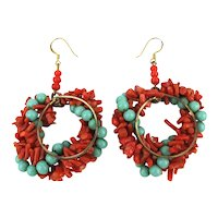 Genuine Red Coral Turquoise Bead Big Hoop Earrings