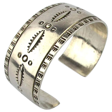 Signed NEDS Navajo Cuff Bracelet Sterling Silver Etched
