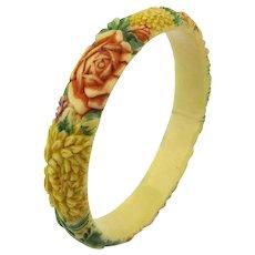 Japan 1930s Carved Celluloid Floral Bangle Bracelet Tinted Colorful